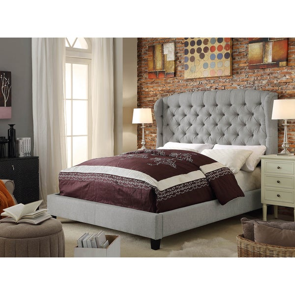 Feliciti Grey Tufted With Wings Queen Upholstery Platform Bed