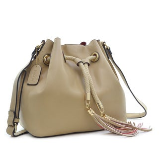 Dasein Saffiano Faux Leather Bucket Bag Hobo Bag