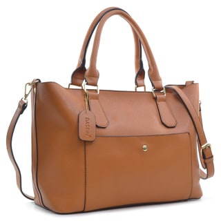 Dasein 2-in-1 Saffiano Faux Leather Satchel with Front Snap Pocket