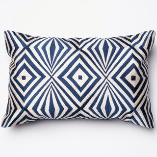 """Diamond Navy/ Ivory Embroidered Down Feather or Polyester Filled Throw Pillow or Pillow Cover (13""""x21"""")"""