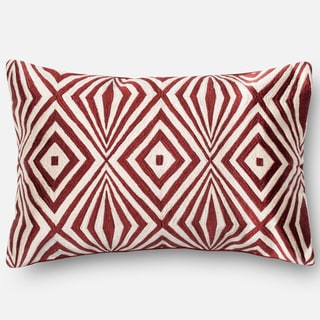 "Diamond Red/ Ivory Embroidered Down Feather or Polyester Filled Throw Pillow or Pillow Cover (13""x21"")"