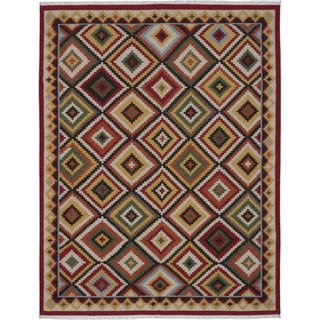 Ecarpetgallery Kashkoli Kilim Dark Red, Light Dull Yellow Wool Geometric Kilim Rectangular Rug (9'1 x 11'7)