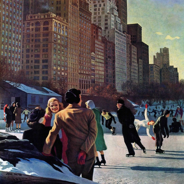 "Marmont Hill - ""Skaters in Central Park"" by John Falter Painting Print on Canvas"