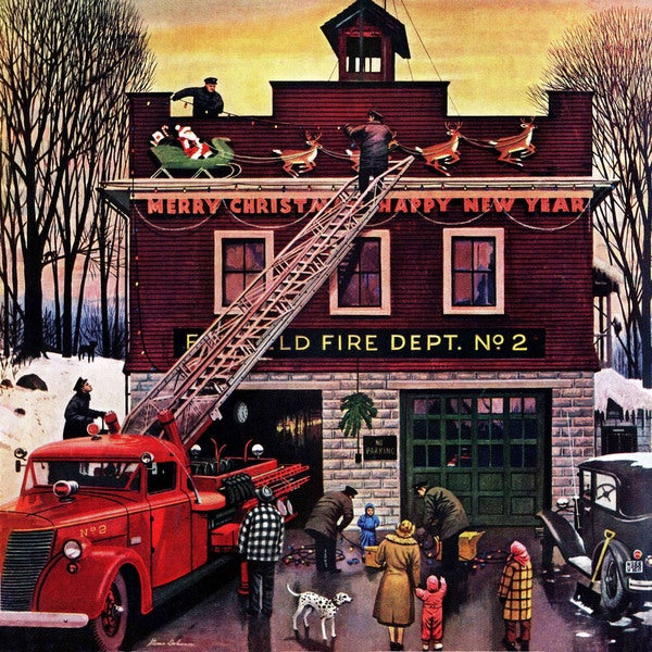 "Marmont Hill - ""Christmas at the Fire Station"" by Stevan Dohanos Painting Print on Canvas"