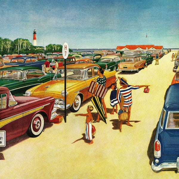 "Marmont Hill - ""Beach Parking Lot"" by James Williamson Painting Print on Canvas"