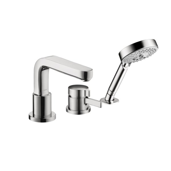3 Hole Tub Faucet : ... Tub Double-handle Satin Nickel Bathroom Faucet with Personal Shower