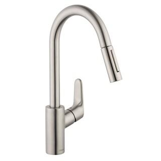 HansGrohe Focus HighArc Steel Optik Kitchen Faucet with PullDown