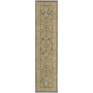 Antiqued Persian Tan/ Blue Rug (1'10 x 7'6)