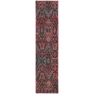 Overdyed Ikat Floral Brown/ Multi-colored Area Rug (1'10 x 7'6)