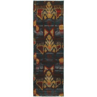 Abstract Tribal Charcoal/ Blue Rug (2'3 x 7'6)