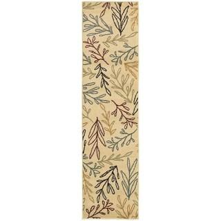Line Drawn Leaf Ivory/ Multi-colored Rug (1'10 x 7'3)