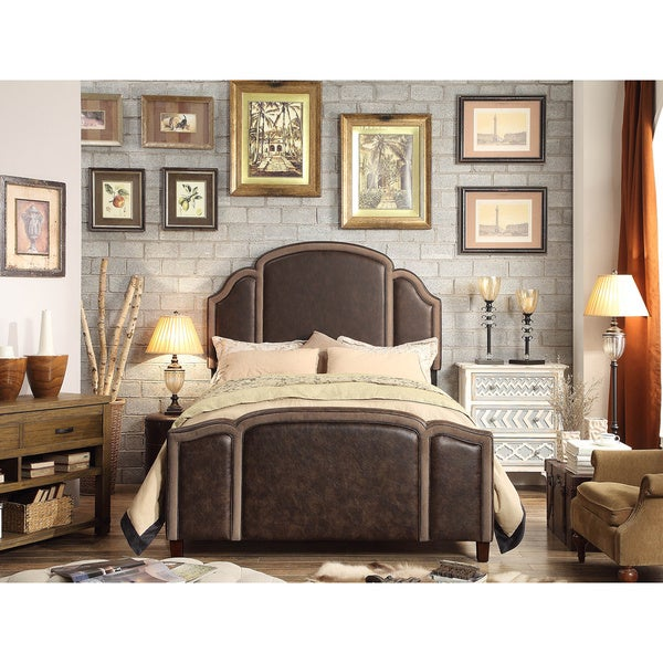 Moser Bay Furniture Ricca 2 Tone Espresso Queen Upholstered Bed