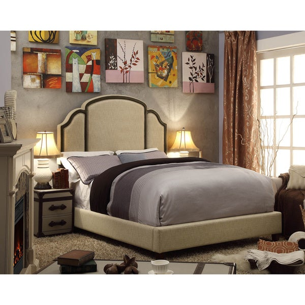 Moser Bay Furniture Ricca Textured Beige Upholstery Platform Bed