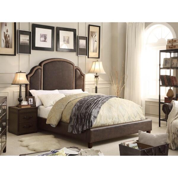 Moser Bay Furniture Ricca 2 Tone Espresso Queen Upholstered Platform Bed