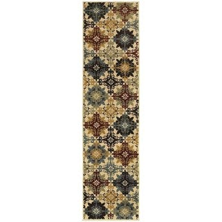 Floral Cross Panel Ivory/ Multi-colored Rug (1'10 x 7'3)