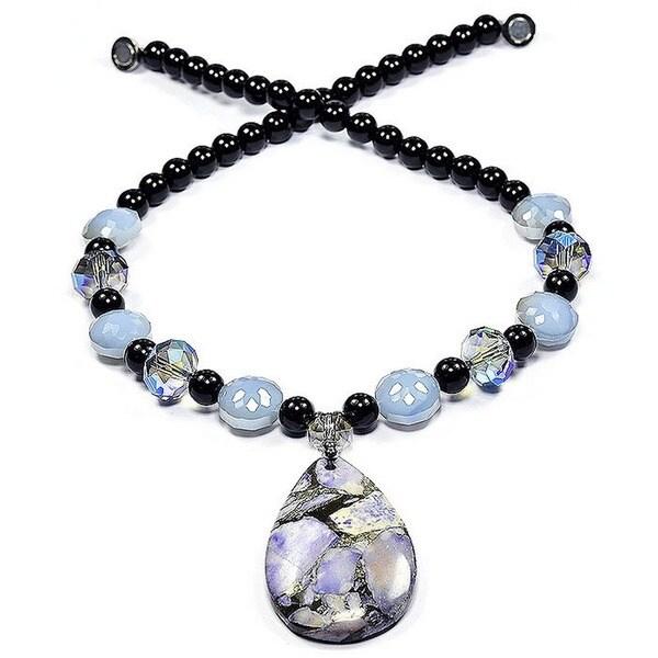 Madame Earth Purple Sea Sediment Jasper and Fire Crystal Teardrop Pendant Necklace