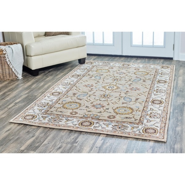 Arden Loft Hand-tufted Beige Central MedallionCrown Way Collection Wool Area Rug (8' x 10')