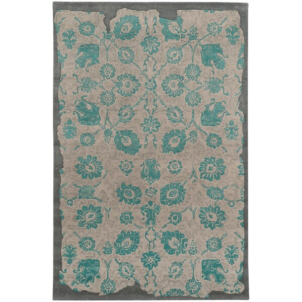 PANTONE UNIVERSE Color Influence Eroded Oriental Green/ Grey Rug (2'6 x 8')