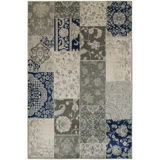 Patchwork Persian Geometric Ivory/ Grey Rug (9'10 x 12'10)
