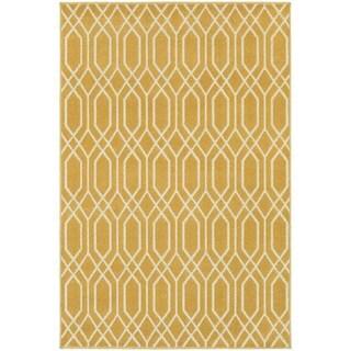 Simple Lattice Gold/ Ivory Rug (9'10 x 12'10)