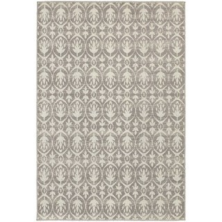 Distressed Leaf Pattern Grey/ Ivory Rug (9'10 x 12'10)