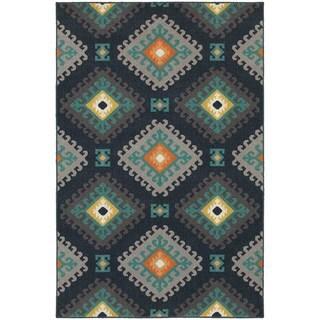 Geometric Tribal Navy/ Grey Rug (9'10 x 12'10)