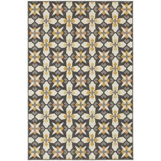 All Over Cross Panel Grey/ Gold Rug (9'10 x 12'10)