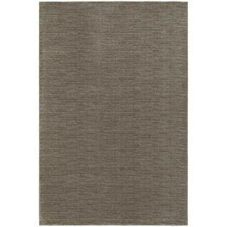 Distressed Stripe Grey/ Brown Rug (9'10 x 12'10)