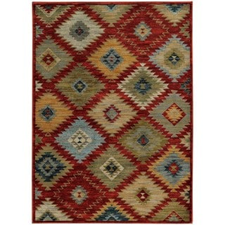Southwest Tribal Red/ Multi-colored Rug (9'10 x 12'10)