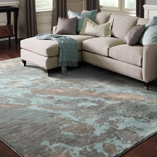 Abstract Marble Blue/ Grey Rug (9'10 x 12'10)