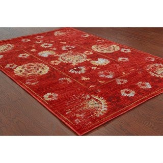 Distressed Oriental Red/ Gold Rug (9'10 x 12'10)