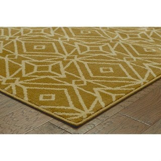 Diamond Geometric Gold/ Ivory Rug (9'10 x 12'10)