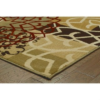 Geometric Block and Floral Multi-colored/ Gold Rug (9'10 x 12'10)