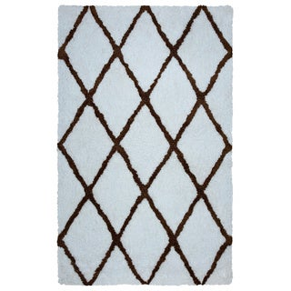 Arden Loft Hand-tufted Ivory Geometric Danbury Crossing Collection Microfiber Area Rug (9' x 12')