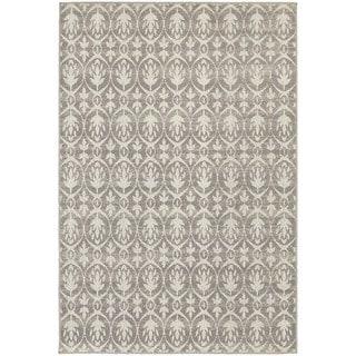 Distressed Leaf Pattern Grey/ Ivory Rug (7'10 x 10'10)