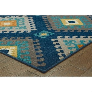 Geometric Tribal Navy/ Grey Rug (7'10 x 10'10)