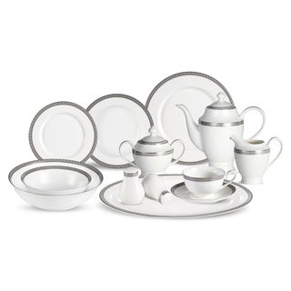 Lorren Home Trends Evelyn 57-Piece Dinnerware Set in Bone China (Service for 8)
