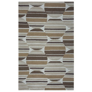 Arden Loft Hand-tufted Beige Geometric Easley Meadow Collection Wool Area Rug (9' x 12')
