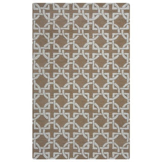 Arden Loft Hand-tufted Brown Geometric Falmouth Fields Collection Wool Area Rug (9' x 12')