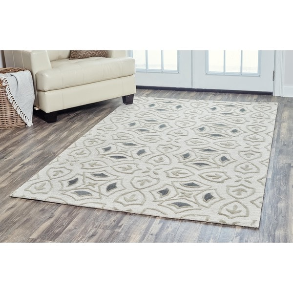 Arden Loft Hand-tufted Ivory Brick Lane Lisbon Corner Collection Wool Area Rug (5 x 8)