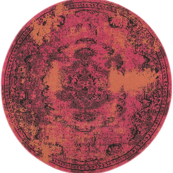 Traditional Distressed Overdyed Oriental Pink/ Yellow Rug (7'8 x 7'8)