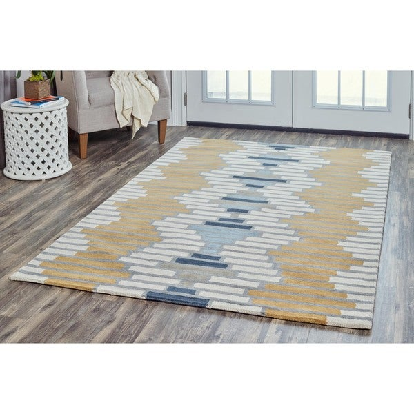 Arden Loft Hand-tufted Ivory Floral Lewis Manor Collection Wool Area Rug (5' x 8')