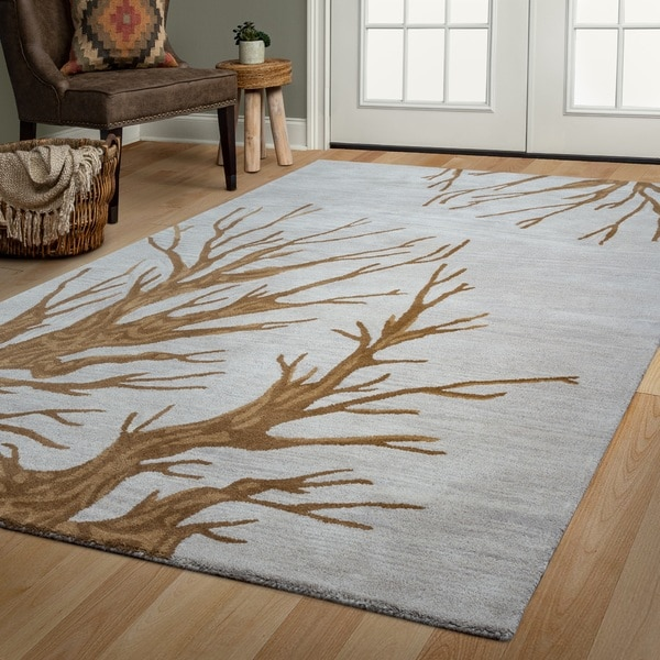 Arden Loft Hand-tufted Natural Floral Lewis Manor Collection Wool Area Rug (5' x 8')