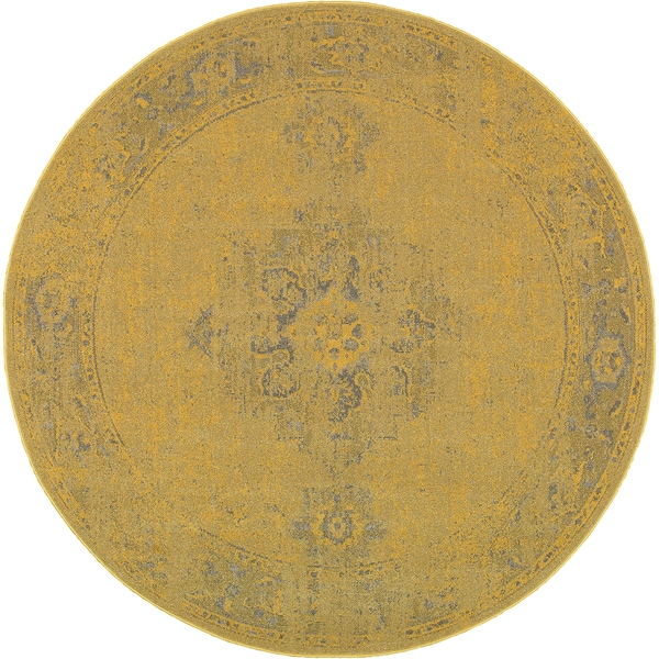Traditional Distressed Overdyed Persian Yellow/ Grey Rug (7'8 x 7'8)