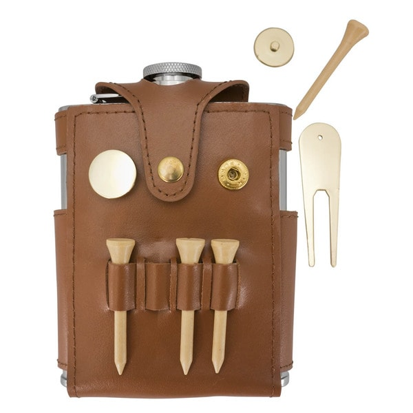 Visol GB Brown Leather Liquor Flask with Golf Tools - 6 ounces 16290516