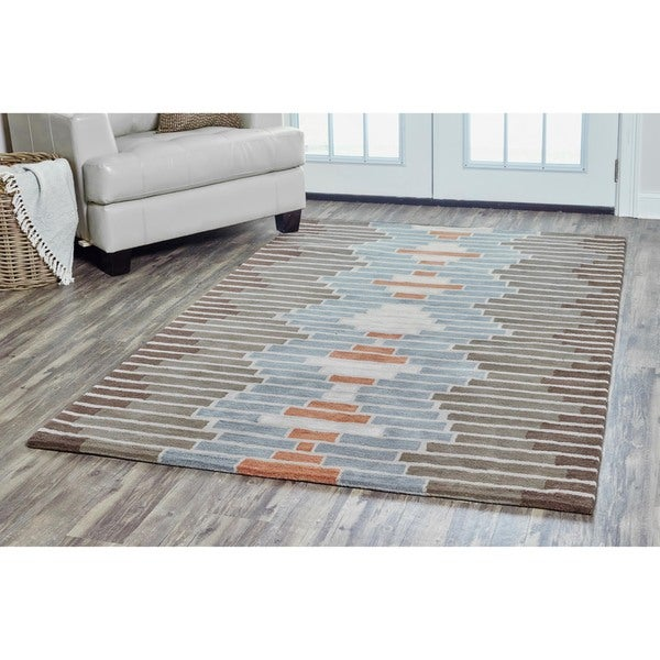 Arden Loft Hand-tufted Brown Geometric Lewis Manor Collection Wool Area Rug (9' x 12')