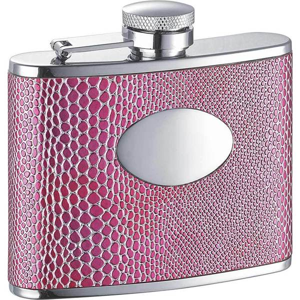 Visol Anaconda Hot Pink Snake Pattern Liquor Flask - 4 ounces