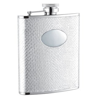 Visol Brilliance White Snakeskin Pattern Liquor Flask - 6 ounces