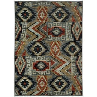 Patchwork Lodge Blue/ Multi-colored Rug (7'10 x 10'10)