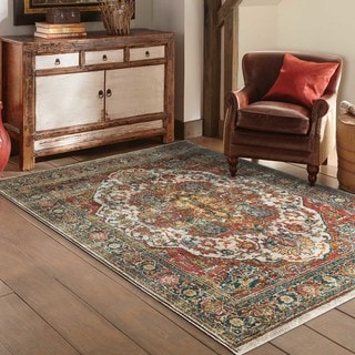 Old World Persian Red/ Multi-colored Rug (7'10 x 10'10)